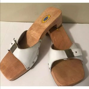 DR. SCHOLLS Wooden Sandals White Leather Special